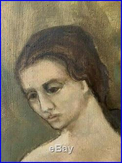 Olga Khokhlova Picasso Oil Painting Old Original Portrait Seated With Rose Hat