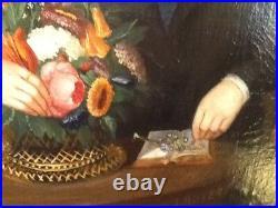 Original American Federal Period Primative Three Figure Family Portrait Painting