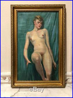 Original Antique 19 Century Oil Painting Of Nude Woman