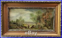 Original Antique Oil Painting Canvas Signed Landscape 15x9.5 Impressionist