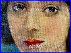 Original Antique Oil Painting Womans Portrait Signed Framed Vintage Nurse Paul
