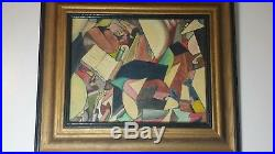 Original J. Raffaele Abstract Oil Painting on Canvas Vintage 1969 Framed