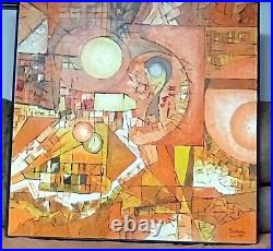 Original Large Abstract Oil Painting 42x42 Signed Shankweiler 1975 Impasto
