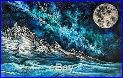 Original Mountain Galaxy Moon Landscape Oil Painting Art 36x24 Bob Ross Style