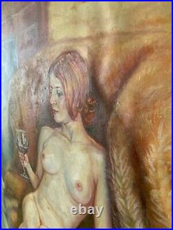 Original Oil Canvas Nude Female Painting Art By Artist