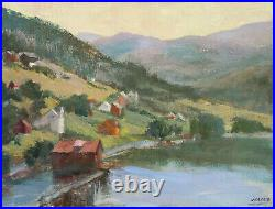 Original Oil Painting Norway Village canvas board size 12 x16 Single