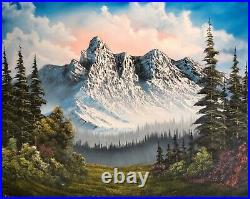 Original Signed 24x30 Landscape Oil Painting in the style of Bob Ross. Art Decor
