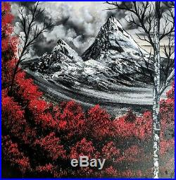 Original Signed Landscape Oil Painting Art Decor 20x20 Canvas Bob Ross Technique