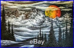 Original Signed Moon Landscape Oil Painting 36x24 Canvas Bob Ross Technique