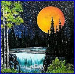 Original Signed Moon Oil Painting Art Decor 36x36 Canvas Bob Ross Technique