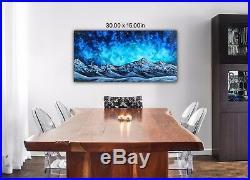 Original Signed Mountain Oil Painting 15x30 Canvas Bob Ross Paints & Technique
