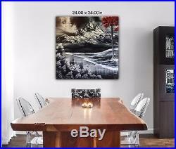 Original Signed Mountain Oil Painting 24x24 Canvas Bob Ross Paints & Technique