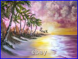 Original Signed Oil Painting Art Decor 48x36 Gallery Wrap Mural Bob Ross Style