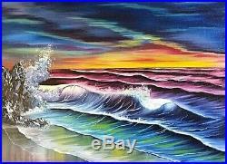 Original Signed Seascape Oil Painting 18x24 Canvas Bob Ross Paints & Technique