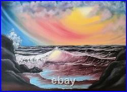 Original Signed Seascape Oil Painting Art Decor 18x24 Canvas Bob Ross Style