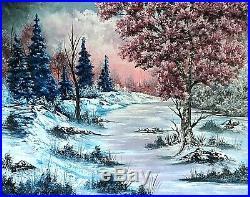 Original Signed Winter Oil Painting 24x30 Canvas Bob Ross Paint & Technique