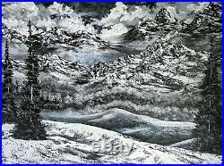 Original Signed Winter Oil Painting 30x40 Canvas Bob Ross Style
