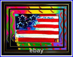 PETER MAX Acrylic PAINTING on CANVAS All ORIGINAL FLAG with HEART Signed Art oil