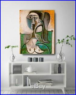 Pablo Picasso Spanish Artist Oil Painting Bust of a Woman Vintage Canvas 24x30