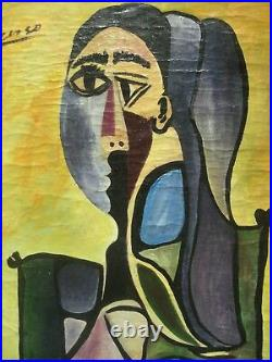 Pablo Picasso Style Canvas Artwork Signed Picasso Christie's Ny Stamp Behind