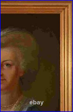 Pair of 18th Century Oil on Canvas Portraits of Husband and Wife Framed