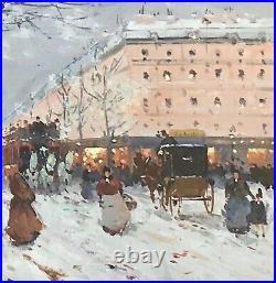 Paris Street Scene by Listed Henri Alexis Schaeffer oil like Cortes Laloue 20X16