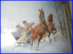 Polish oil on canvas by Antoni Trzeszczkowski, Poland winter