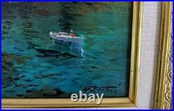 RAIMONDO ROBERTI b. 1947 Oil Painting On Canvas ITALIAN COASTLINE AMALFI COAST