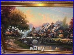 RARE Cobblestone Bridge Thomas Kinkade Canvas (71/240) R/E Renaissance ($7505)