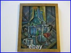 Ricardo Maya Painting Rare Nicaragua Modernist Cubist Cubism Abstract Wine Tea