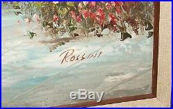 Rossini Original Oil On Canvas Sea Shore Sail Boat Painting