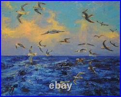 Seagulls. Original framed oil on canvas 8x10 impressionistic seascape painting