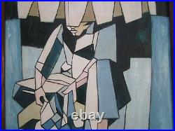 Signed MID Century Cubist Cubism Abstract Painting Modernism Cuba Filipino Vtg