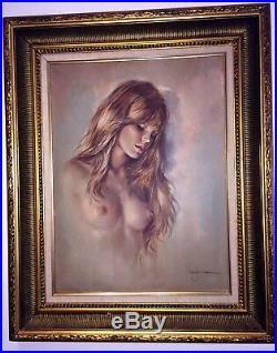 Signed Original Leo Jansen Nude Oil Painting Vintage 1970's Playboy Artist