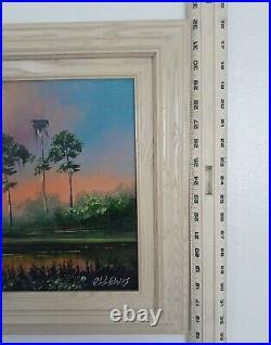 Signed Vintage Florida Highwaymen Painting Robert R. L. Lewis Florida Wetlands