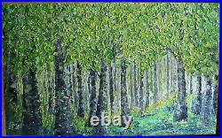 Spring Forest Extra Large Canvas Original Oil Painting Platte Impasto Textured