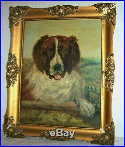 St. Bernard Dog Original Antique Signed Oil Painting on Canvas, 19th Century