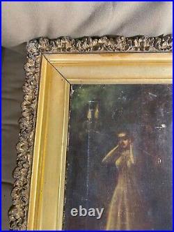 Stunning Antique Female At Mirror Scene Oil Painting Framed