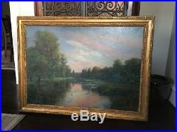 Stunning Robert Van Boskerck (1855-1932) Original Oil/Canvas River Scene C. 1900