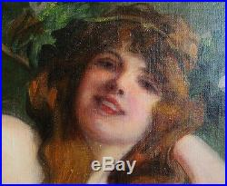 Superb Original Art Nouveau Oil Painting RICHARD GEIGER c. 1900 Austrian