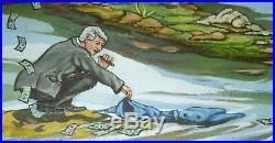 TRUMP DRAINING The SWAMP Original Oil Painting O/Canvas KEEP USA GREAT 2020