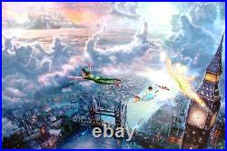 Thomas Kinkade RARE STUDIO PROOF S/P Peter Pan Tinker Bell 18x27 Disney Canvas