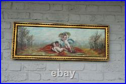 Top French Antique set 4 oil canvas Painting Putti angels 4 Seasons