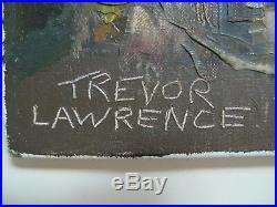 Trevor Lawrence 1971 Signed CityScape Abstract Oil Palette Knife Style Painting