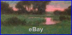 Twilight Tonalist Wetlands Impressionism Art Oil Painting Landscape Sunset Tonal