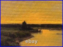Twilight Wetlands Realism Landscape OIL PAINTING ART IMPRESSIONIST Original Gold