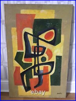 VINTAGE 50s ABSTRACT CUBIST GEOMETRIC OIL PAINTING ON CANVAS SIGNED LARGE 92cm