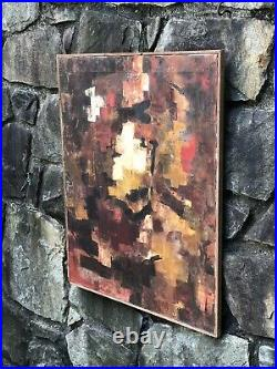 VINTAGE Modern Art ABSTRACT EXPRESSIONIST Oil on Canvas PAINTING mcm 1950s-1960s