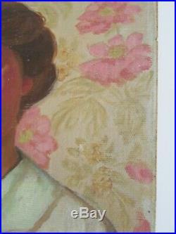 VTG 1930's WPA Oil Painting Portrait of Brunette Woman on Wallpaper