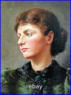 Victorian 1898 Portrait Painting Woman in Green oil on canvas. Signed. Framed